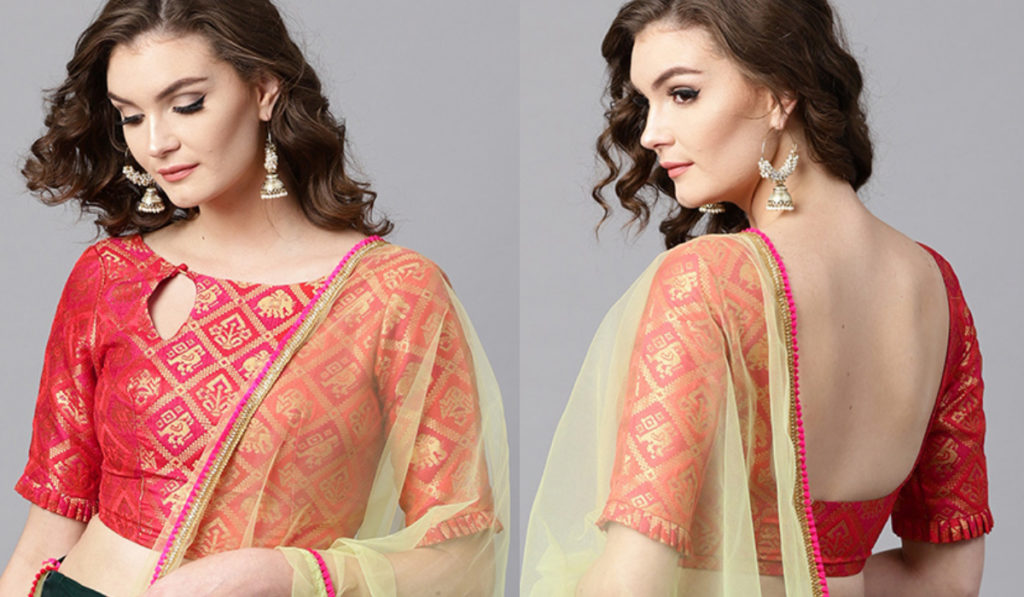 Red Brocade blouse With Designer Neck Style