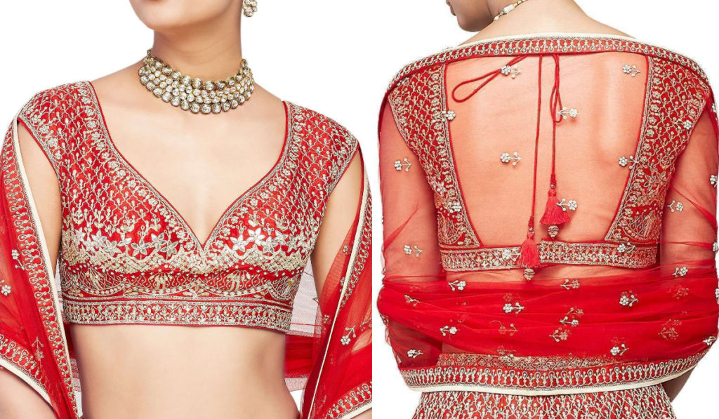 Red Princess Cut Neck Design Blouse with Half Sleeves