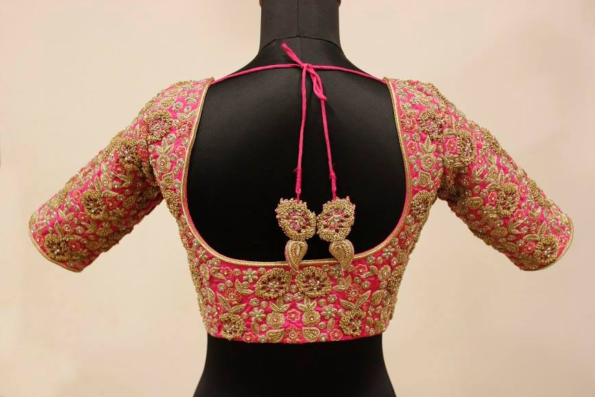 Silk blouse with heavy maggam work