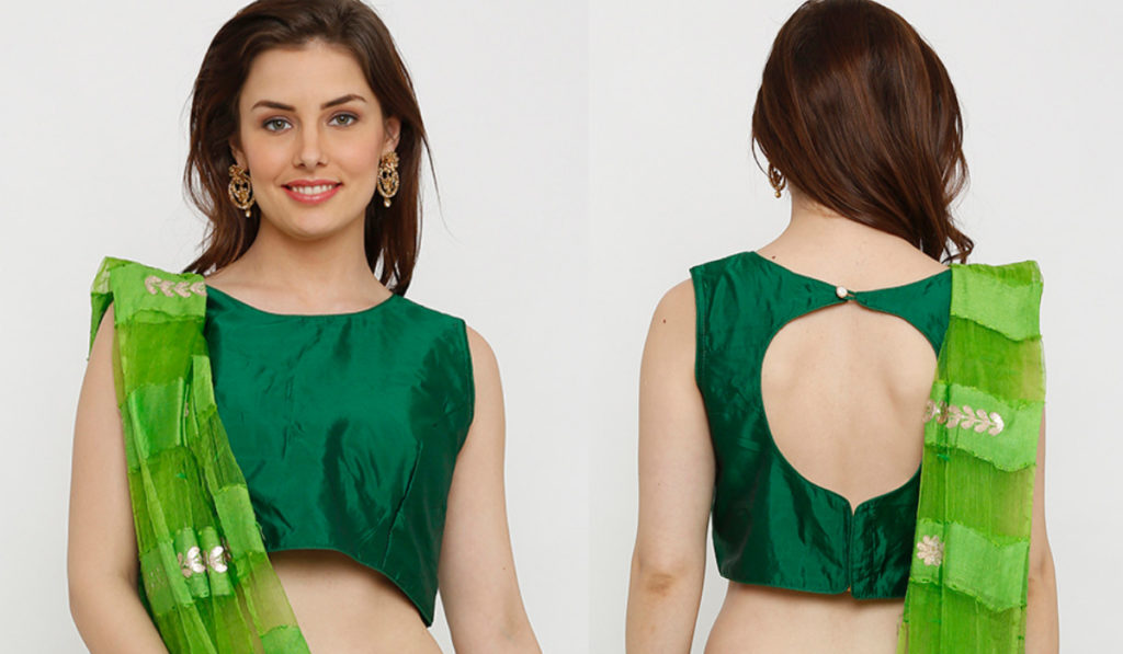 Simple Boat Neck Blouse with Back Circle Design