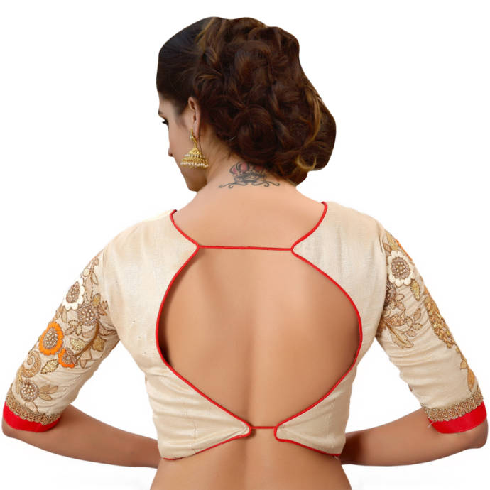 Simple cutout with two strings and embroidered sleeves