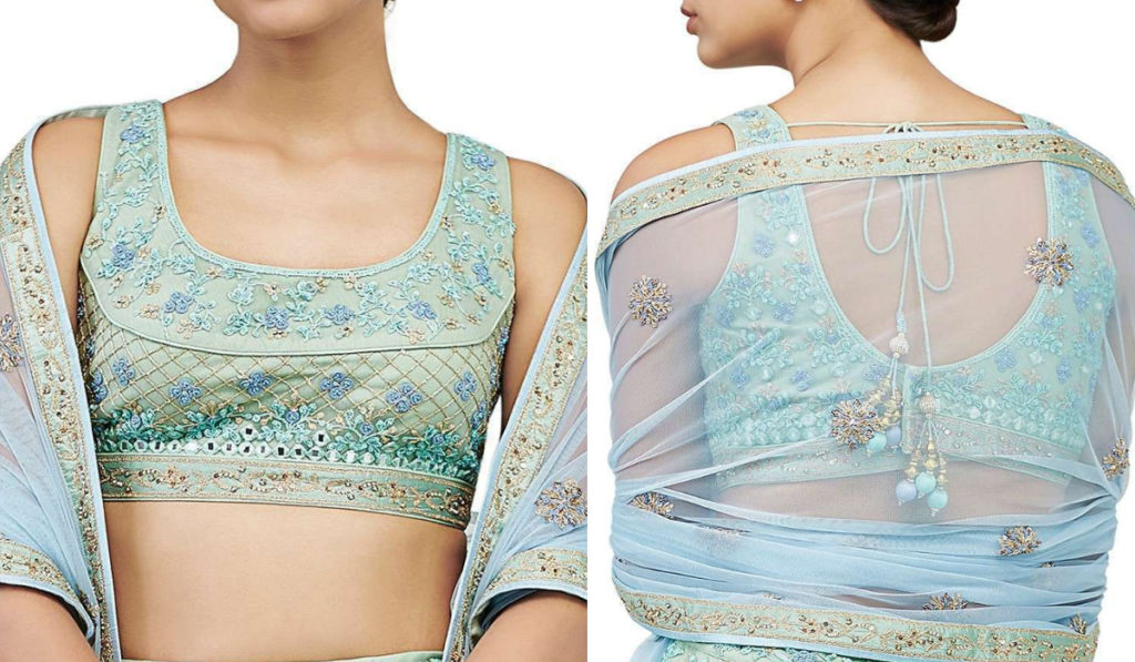 Sky Blue Sleeveless Blouse with Patch Style Embroidery