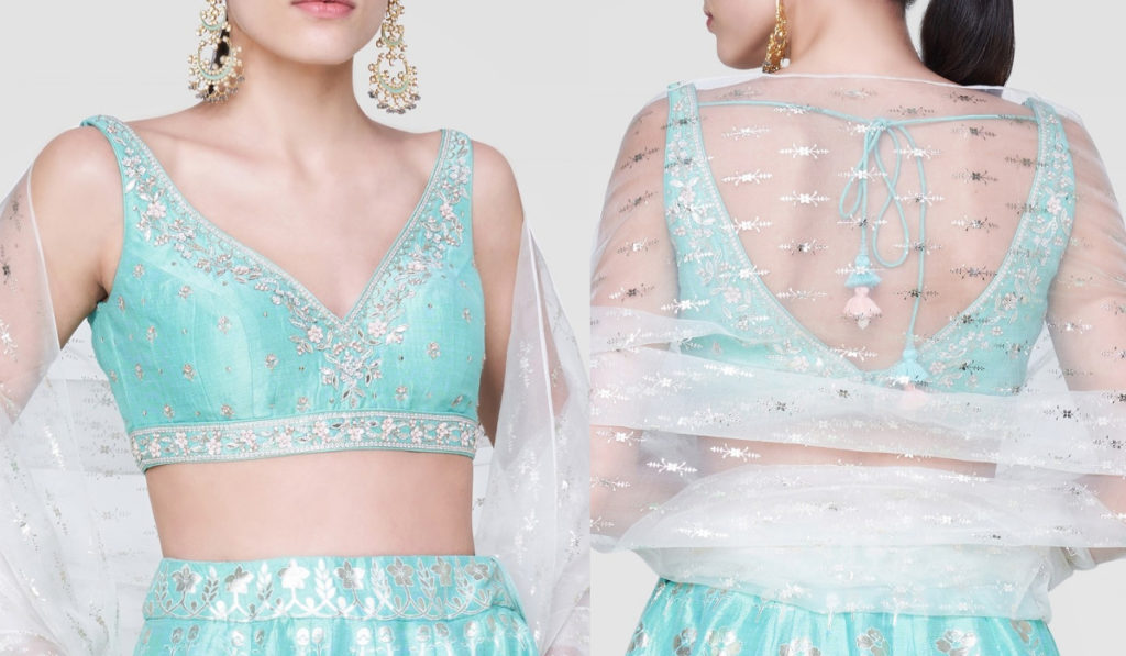 Sky blue Sleeveless Blouse Design with Deep Front and Back Neck