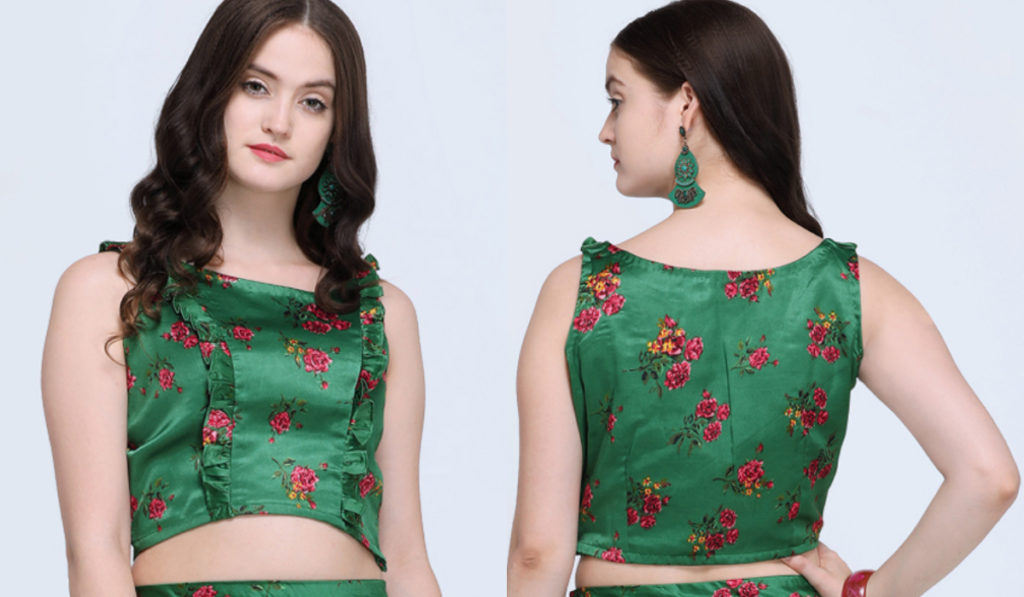 Soft Satin Blouse With frill Designing and Close Neck Design