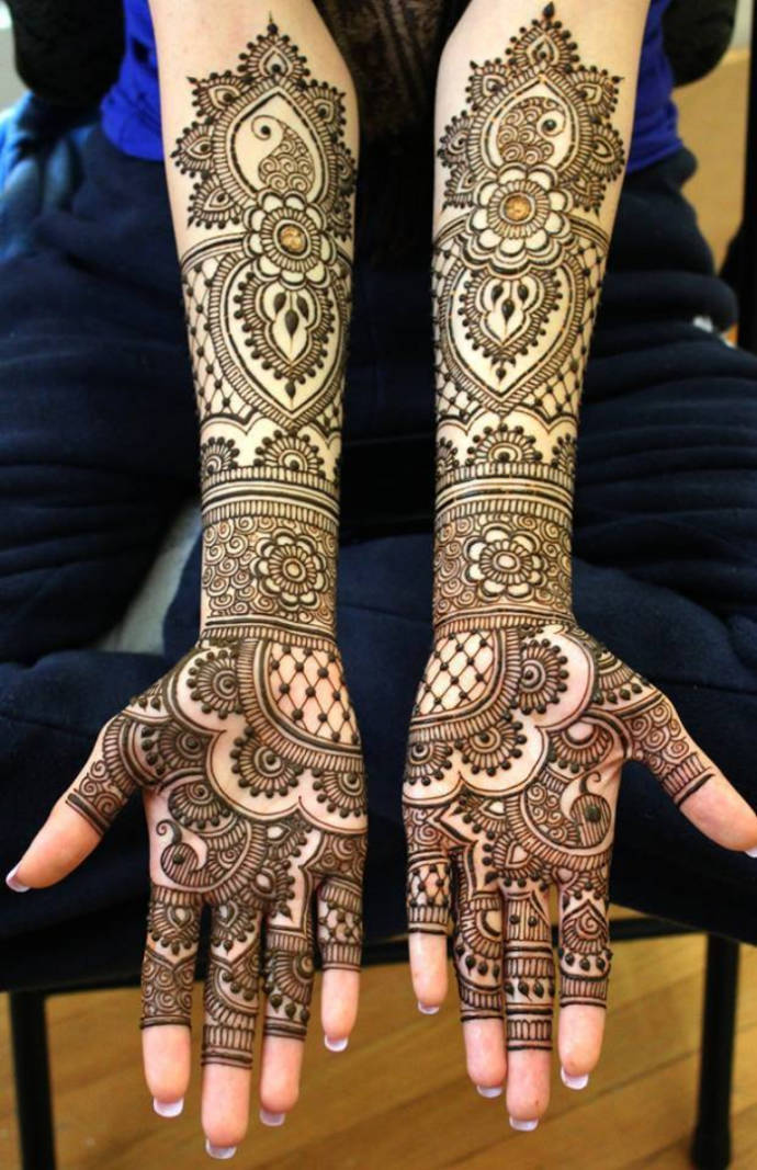 Spaced Out Full Hand Artistic Bridal Mehndi
