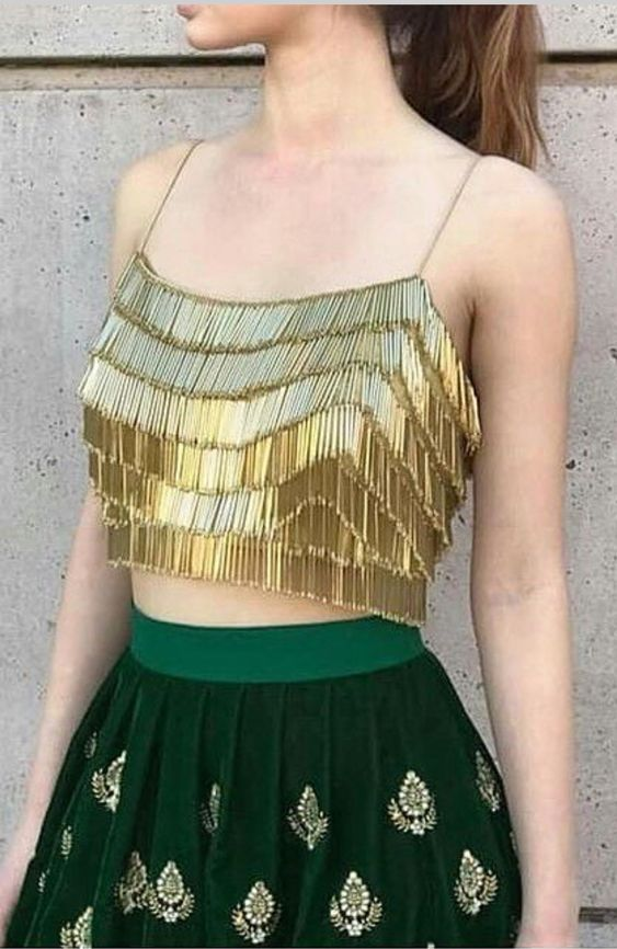 Spaghetti Square Blouse With Fringes