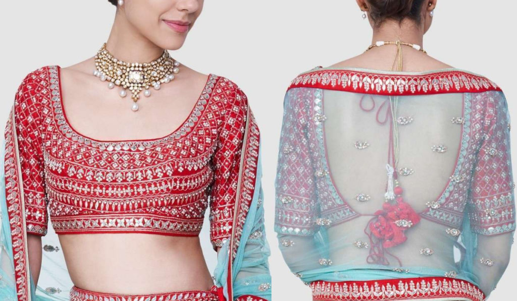 Square Neck Design Blouse with Heavy Embroidery Work