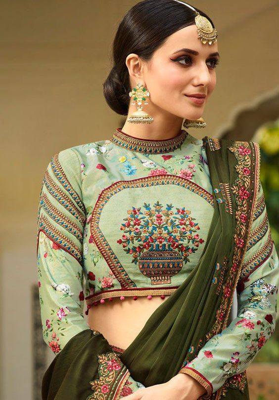 Thread Embroidered Printed High Collared Full Sleeved Blouse
