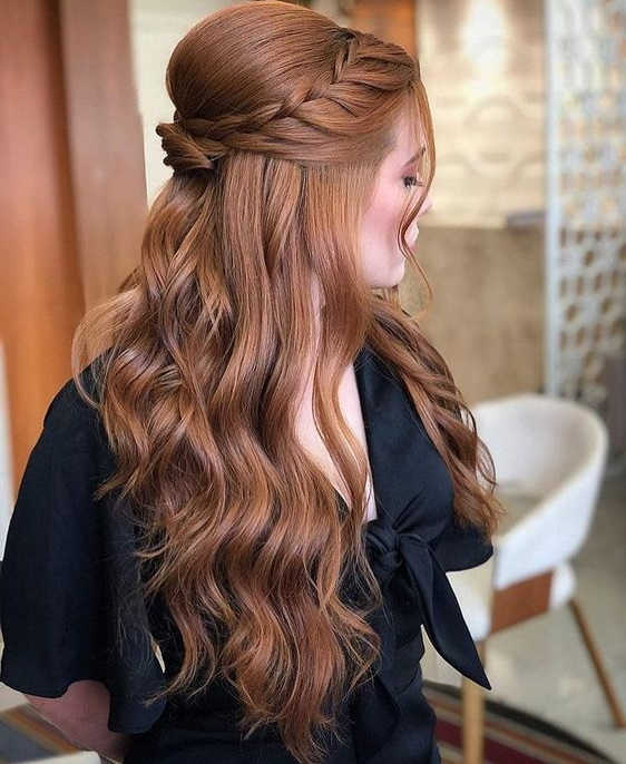 Three stranded up top braid with soft curls