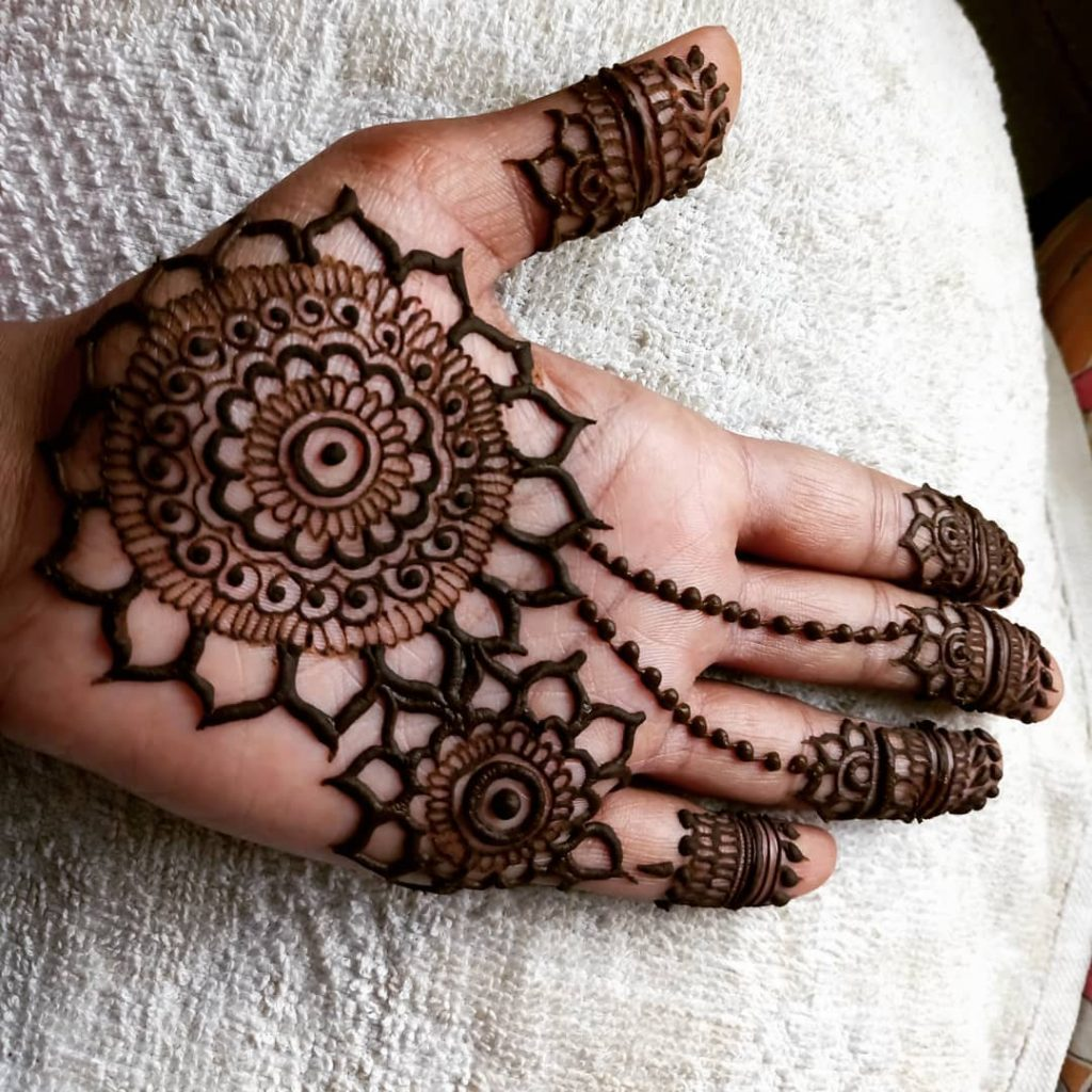 Twin Circles Mehndi Design for Palm