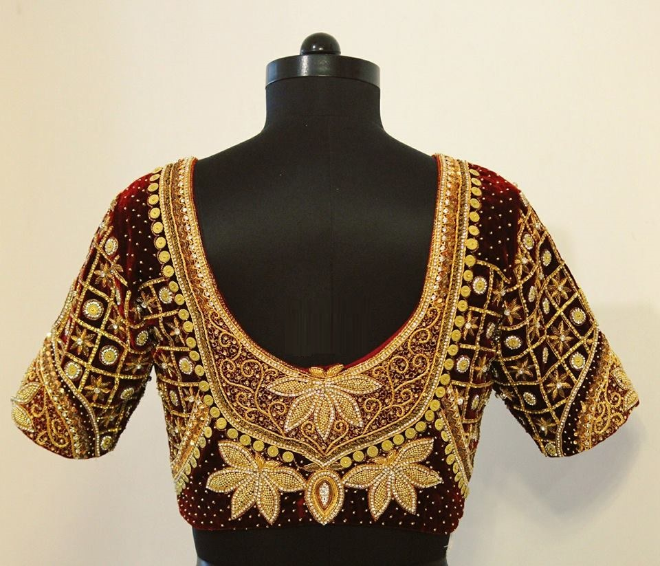 Velvet blouse with golden maggam work