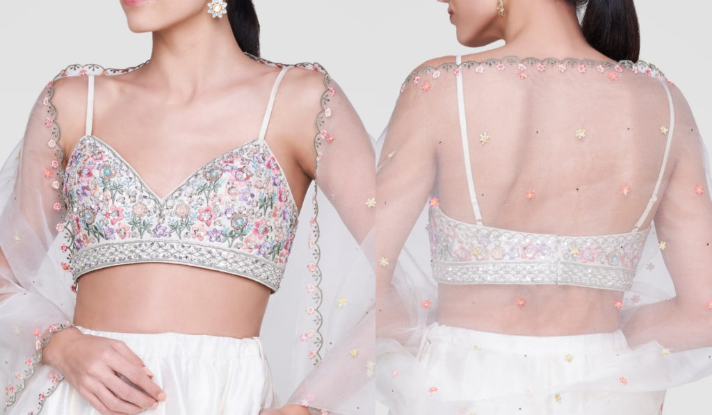 Whole White Bra Style Blouse with Thin Stripes and Multicolour Embroidery