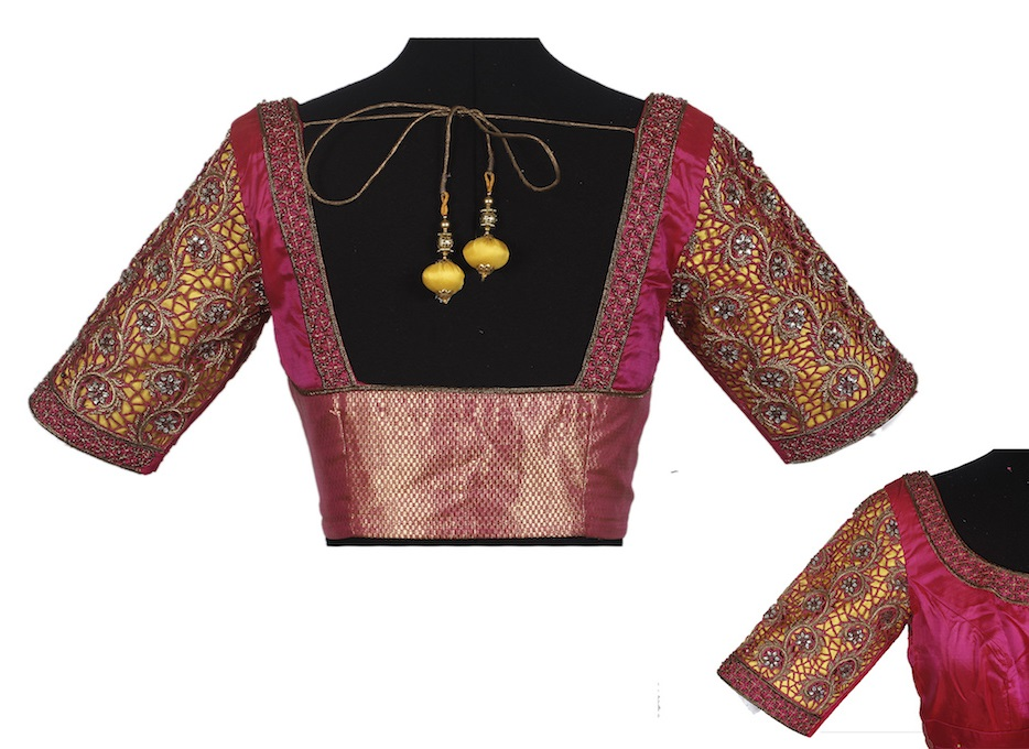Zari and maggam work blouse with sleeve work