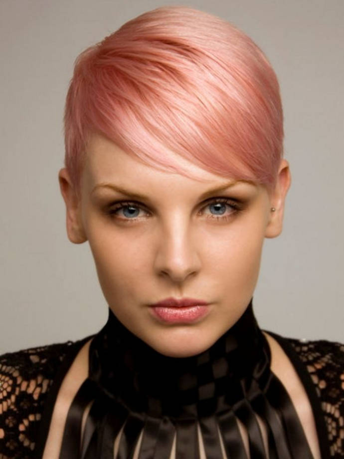 Light Pink Hairstyle and Side Bangs