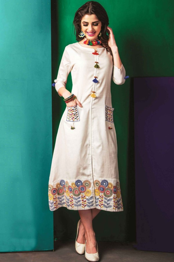 White Kurti with Embroidery