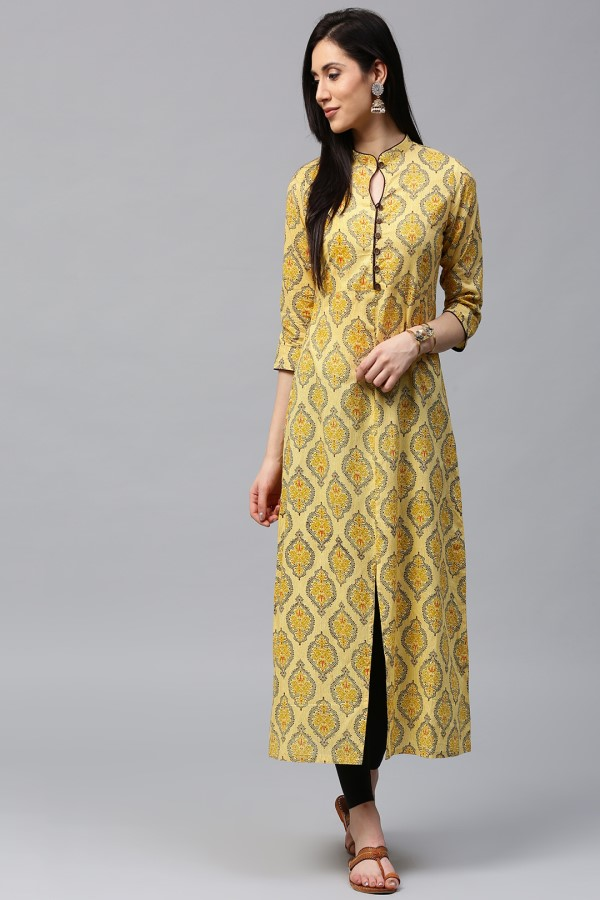 Yellow kurti with the black contemporary sleeves