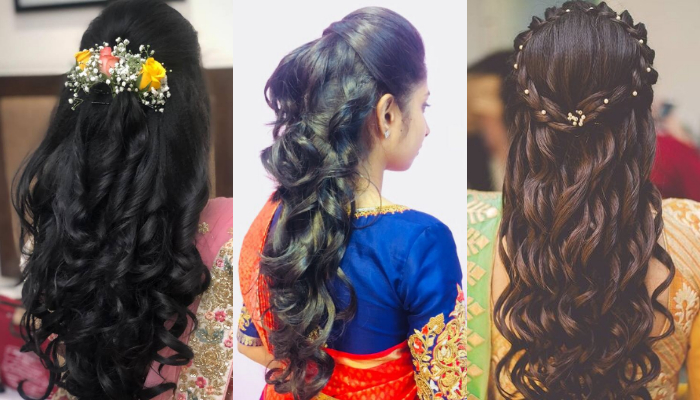 Half Up Half Down Hairstyles for Saree