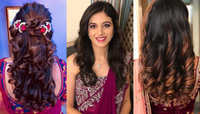 Gorgeous Curly Hairstyles & Haircuts for Saree