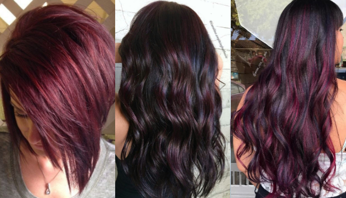 Plum highlights for black hairstyles