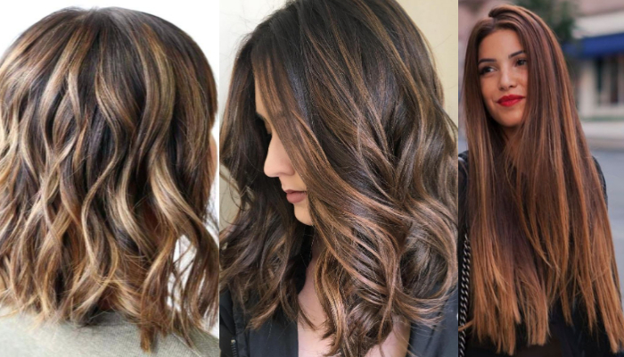 Hairstyles for black & brown hair with light blonde highlights