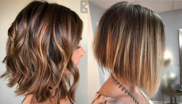 Caramel color highlights for short hair and pixie cuts