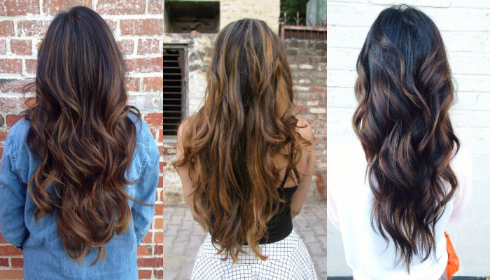 Highlights & lowlights hairstyles for long dark colored hair