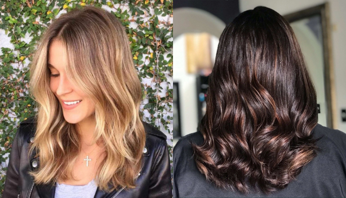 Medium length hair highlights with blonde and caramel color
