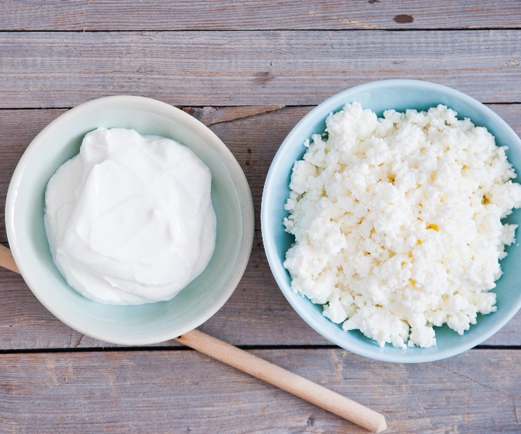 Plain greek yogurt and cottage cheese