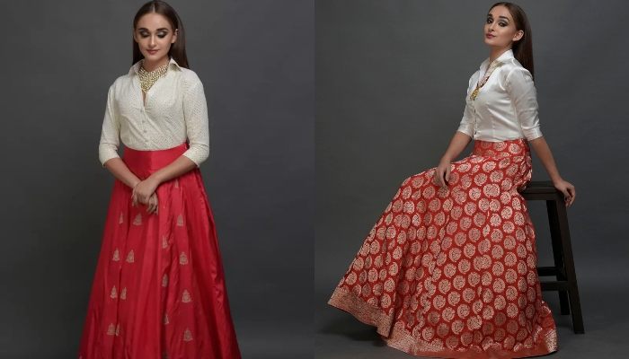 Brocade skirts with shirts